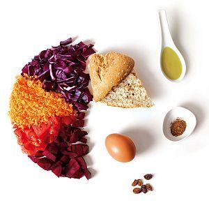 ingredientes de receta de ensalada roja de otoño